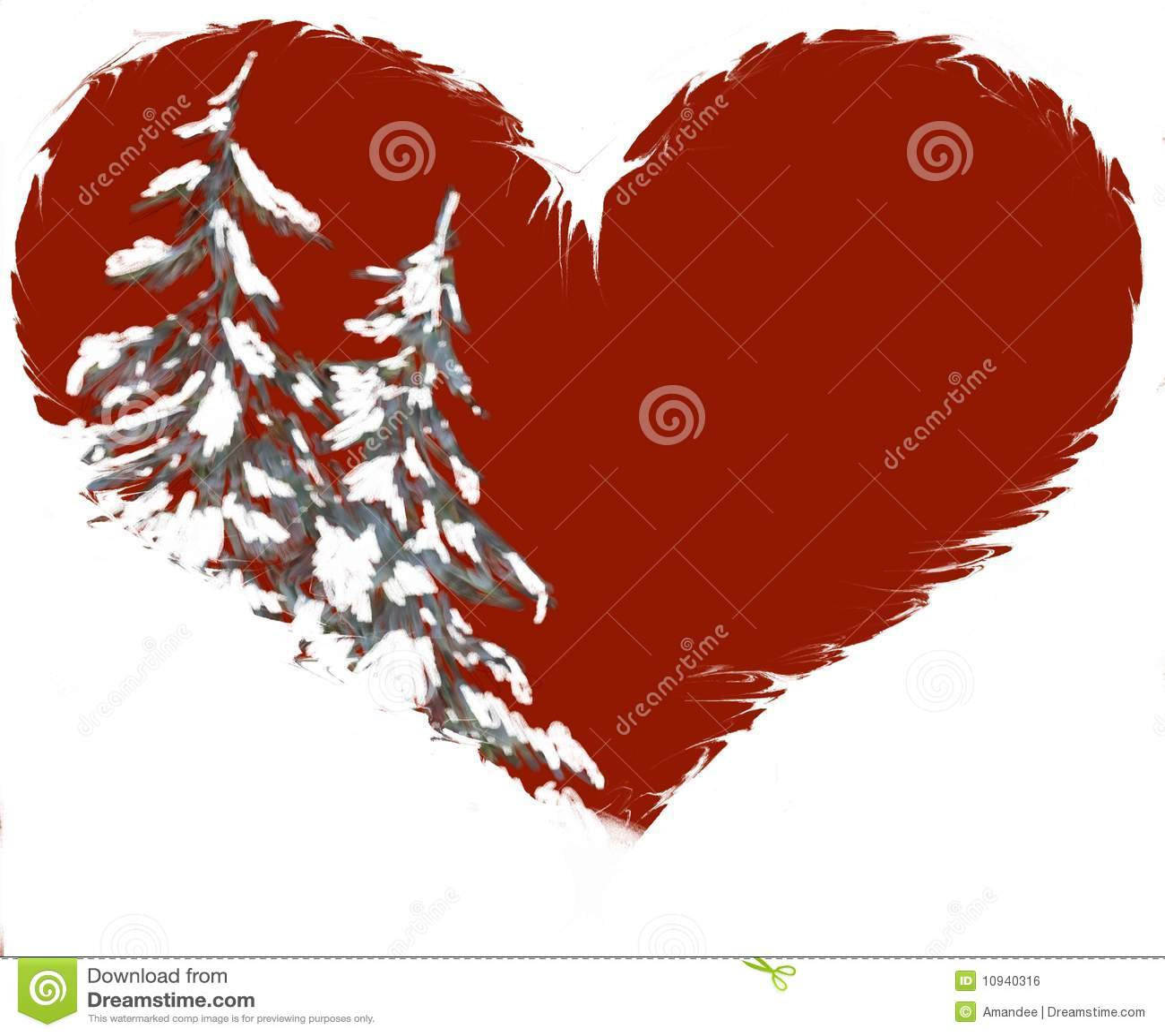 snowy pine trees in heart shape illustration stock