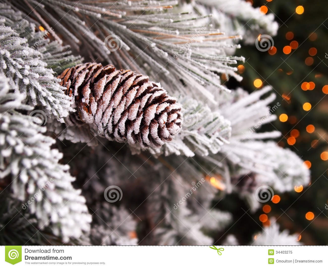 Snowy Pinecone Christmas Tree Stock Image - Image: 34403275