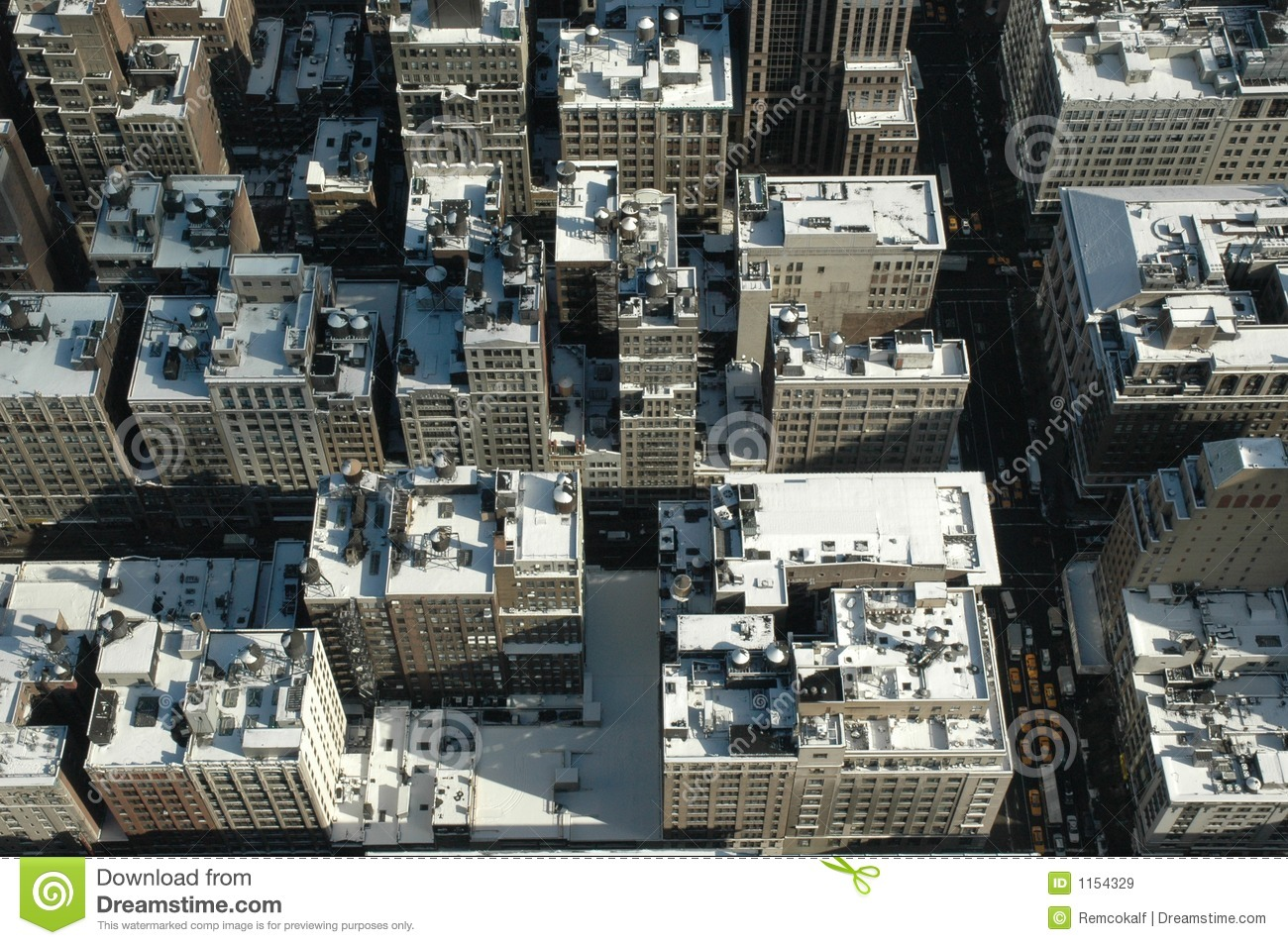 Snowy Rooftops From Above In New York City Stock Image