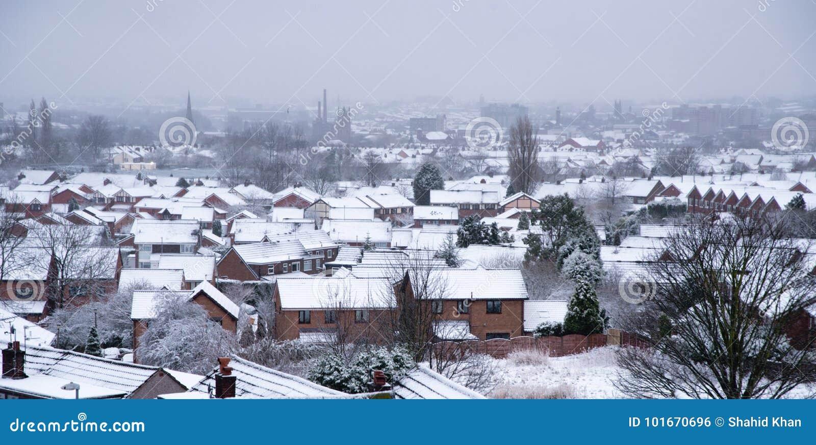 Wondrous Snowy Town Ashton Under Lyne Stock Photo Image Of Cottages Interior Design Ideas Skatsoteloinfo