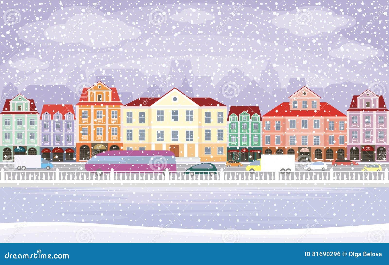 Enjoyable Snowy Town Background Stock Vector Illustration Of Vector Interior Design Ideas Skatsoteloinfo