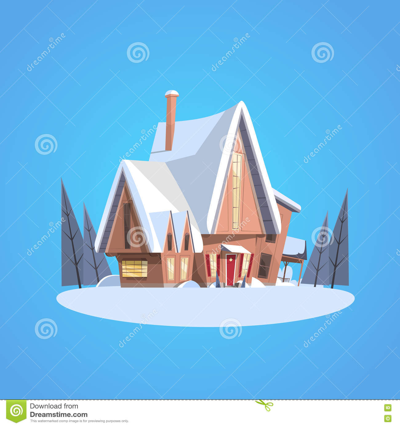 snowy village house happy new year merry christmas greeting card banner