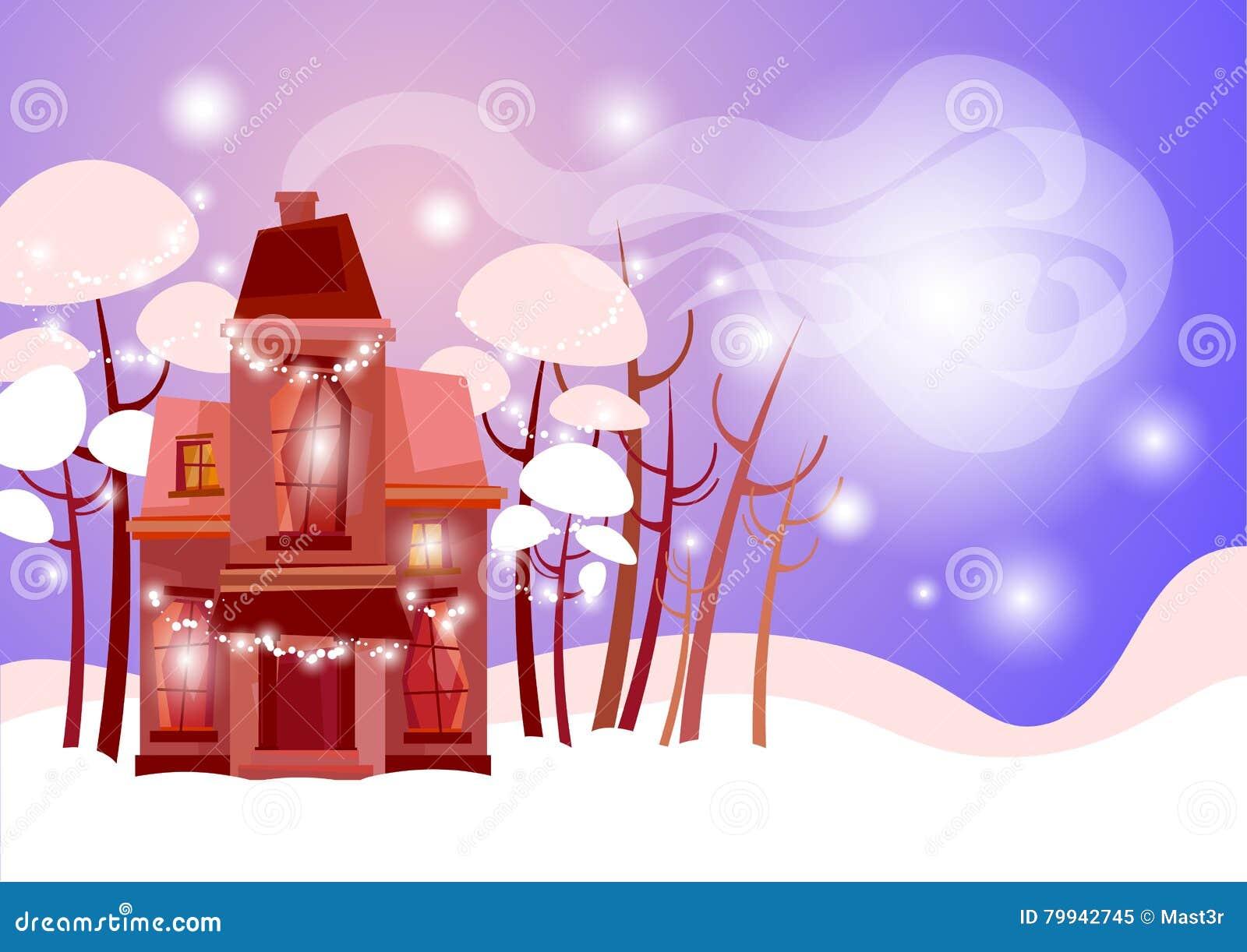 Snowy village house happy new year merry christmas greeting card snowy village house happy new year merry christmas greeting card banner flat copy kristyandbryce Gallery