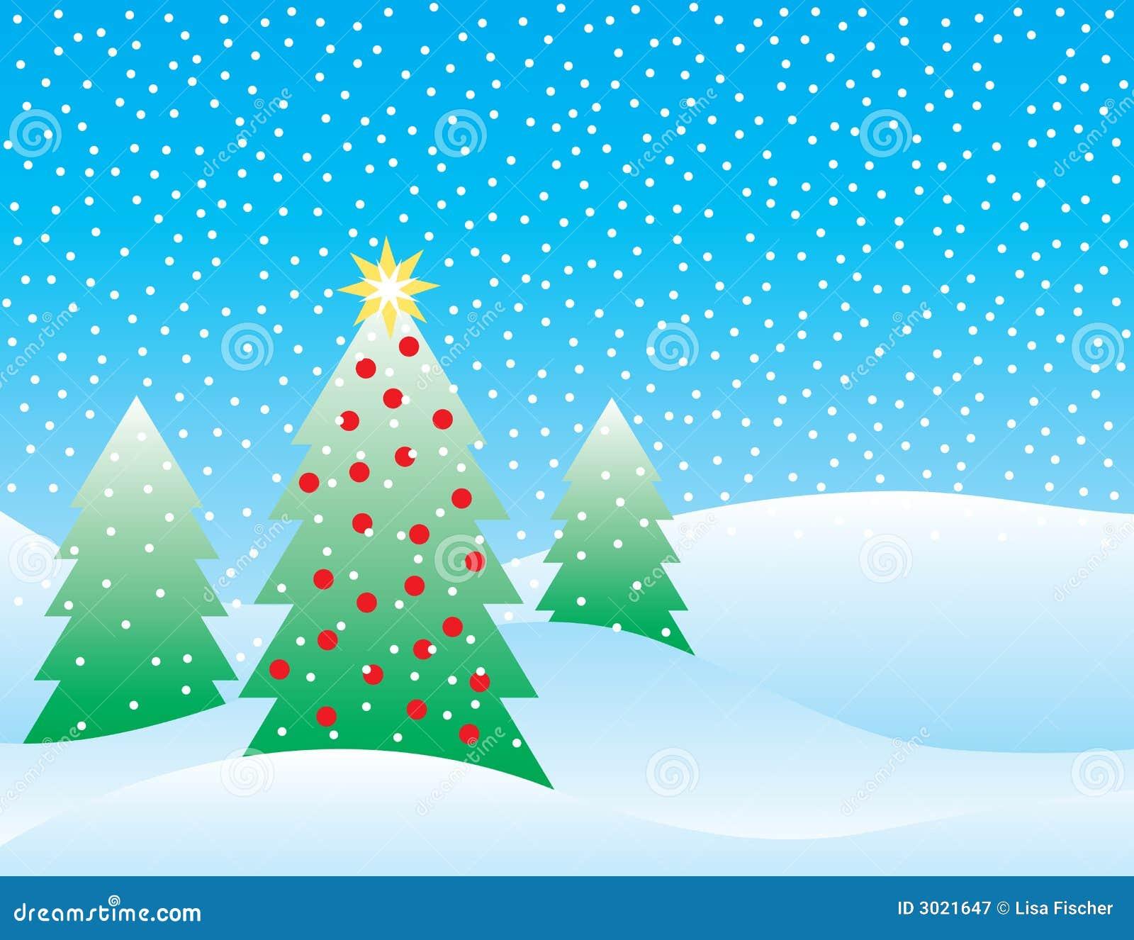 Snowy-Weihnachtsszene vektor abbildung. Illustration von karte - 3021647