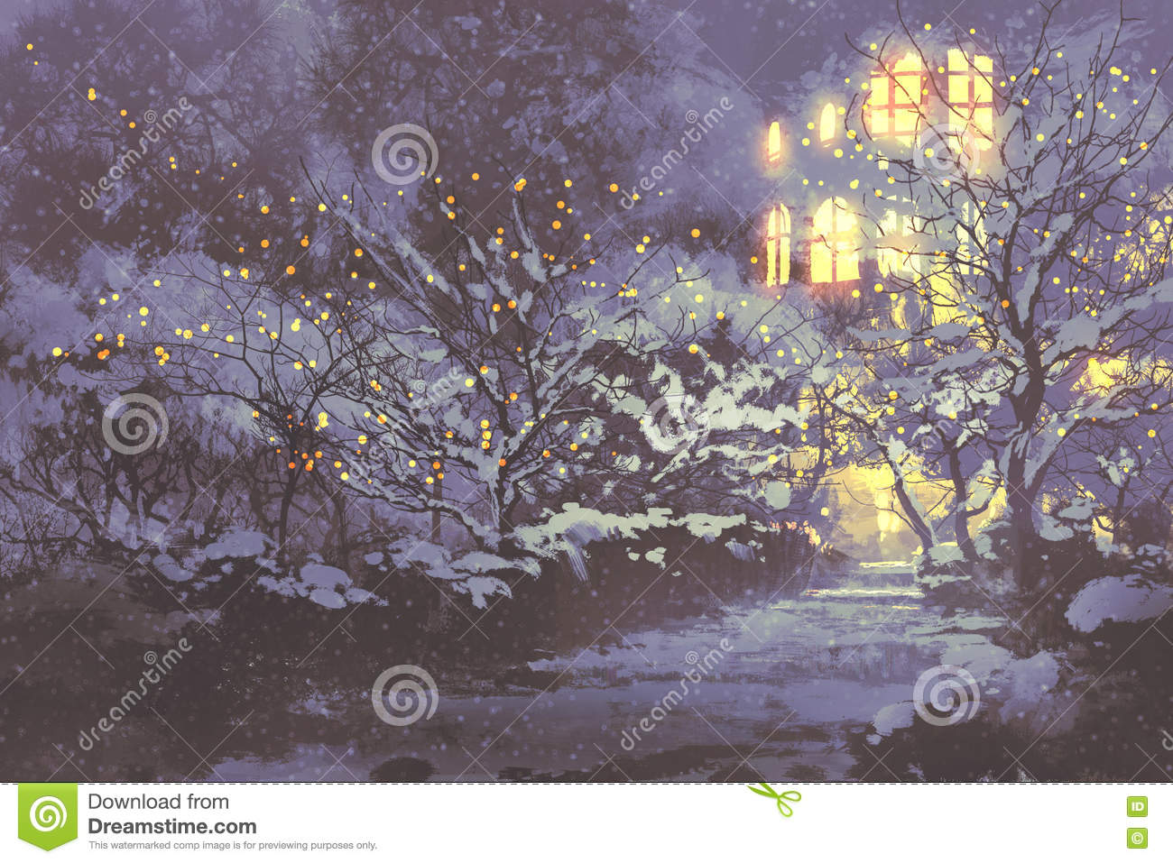 snowy winter alley in the park with christmas lights stock
