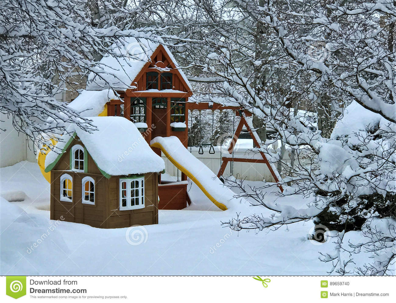 snowy winter backyard playground stock photo image 89659740