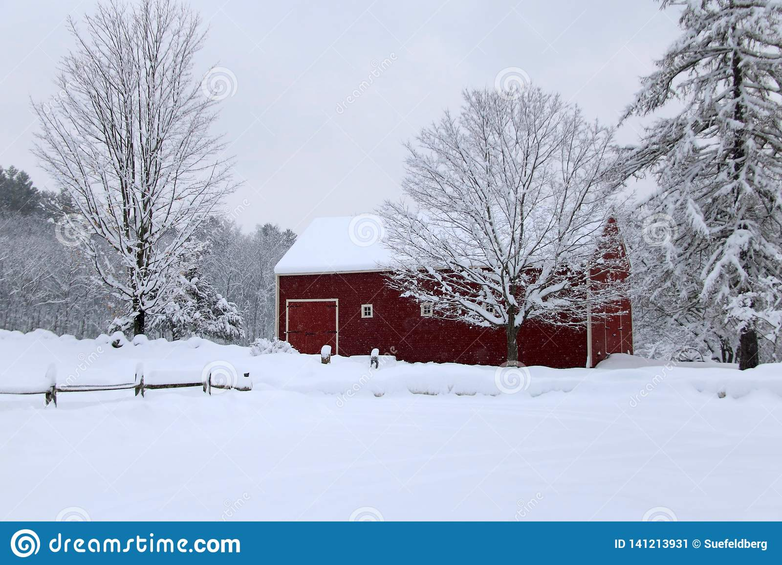 Snowy Winter Barn In New England