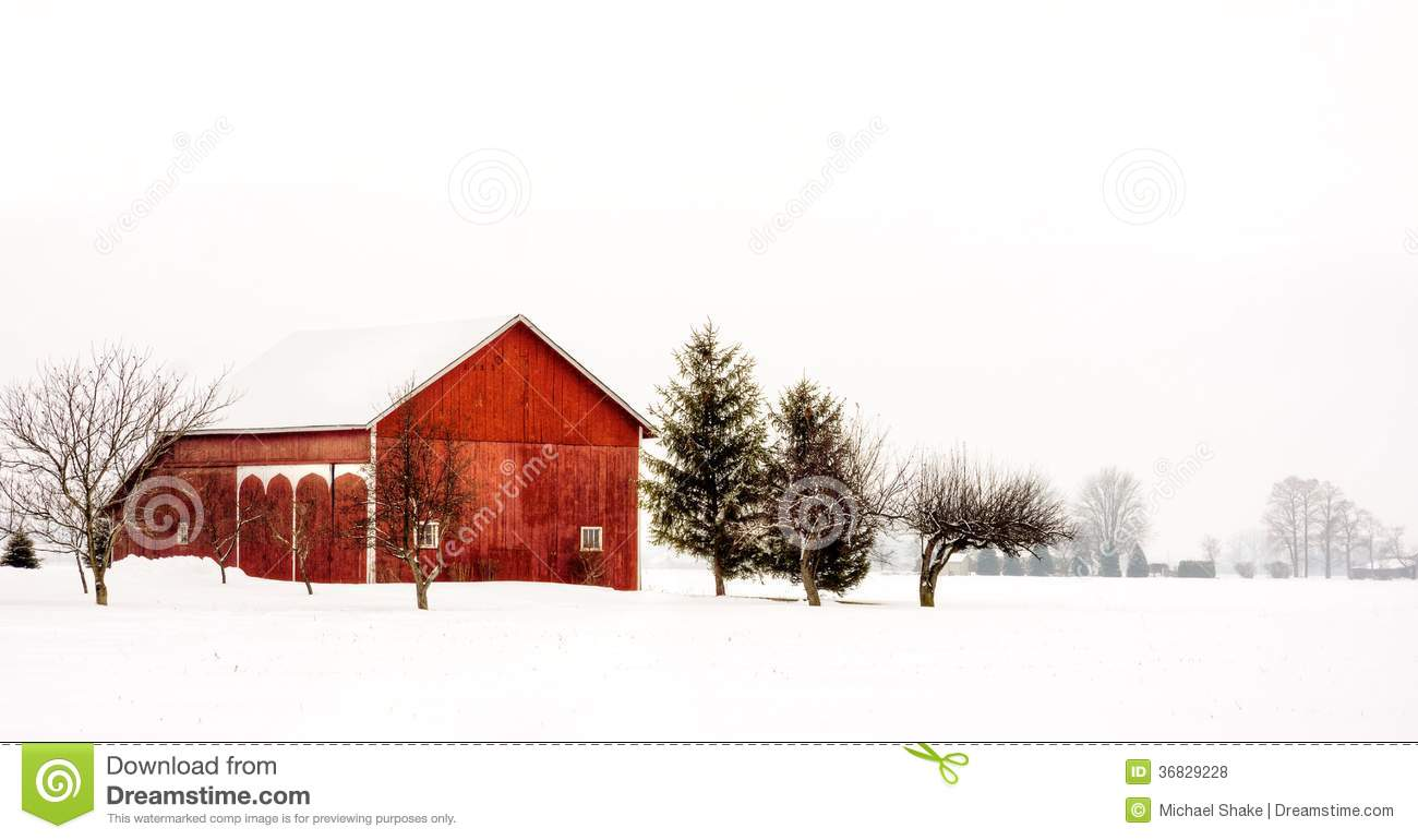 Download Snowy Winter Barn Stock Photo Image Of January