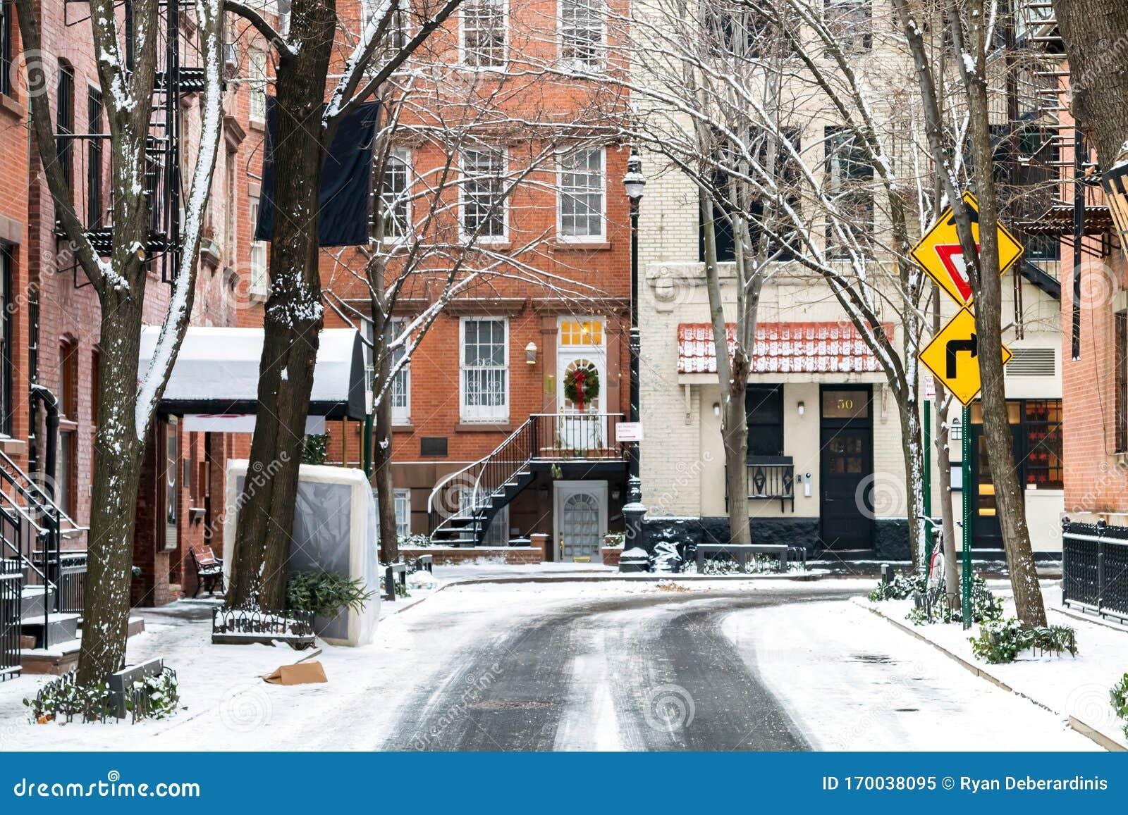 Snowy Winter Scene On Commerce Street In The Greenwich ...