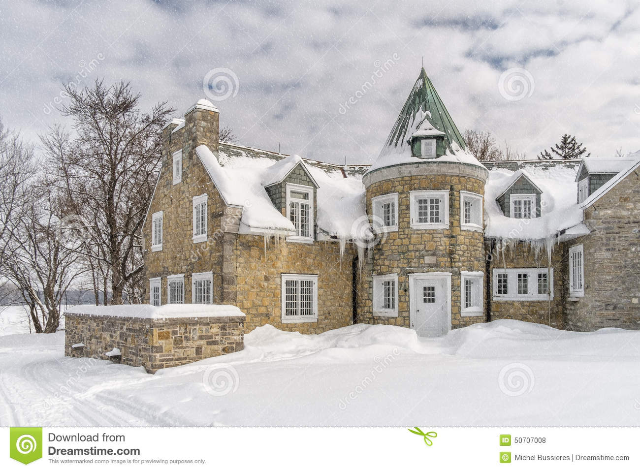 Snowy Winter Scene Stone House Stock Image