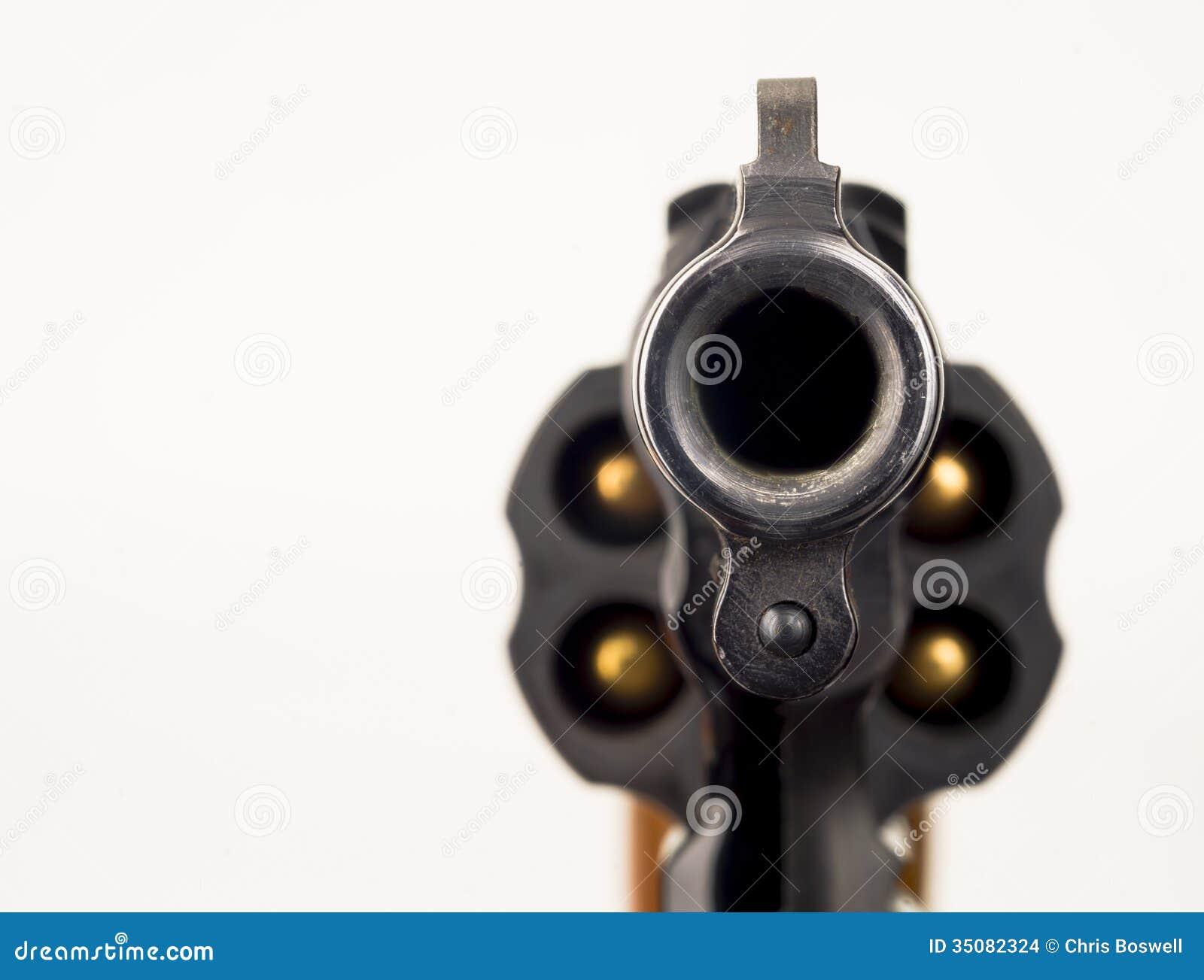 38 Snub Nose Revolver Weapon Gun som pekas på tittaren