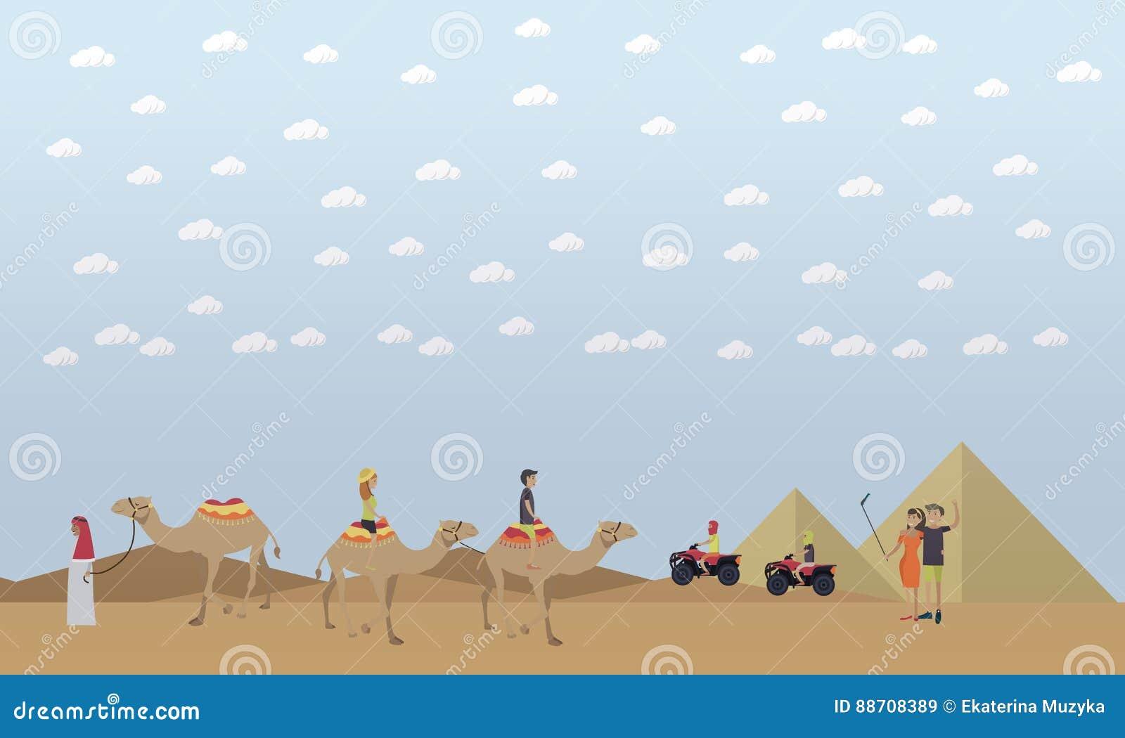 Snubbla till Egypten, pyramider som rider illustrationen för lägenheten för kamelbegreppsvektorn