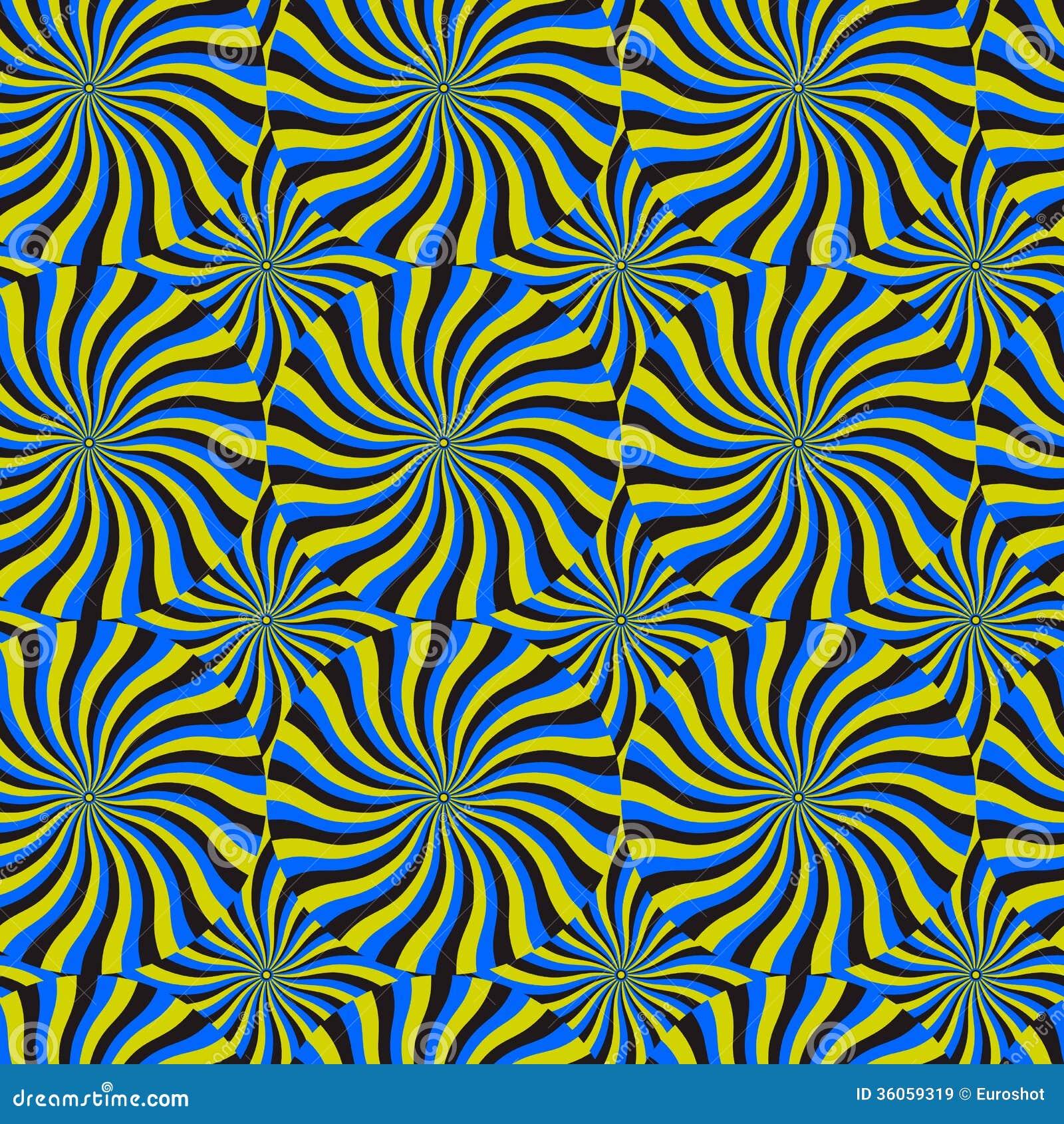 Snurrandecirkulering för optisk illusion, bakgrund för vektormodellabstrakt begrepp.
