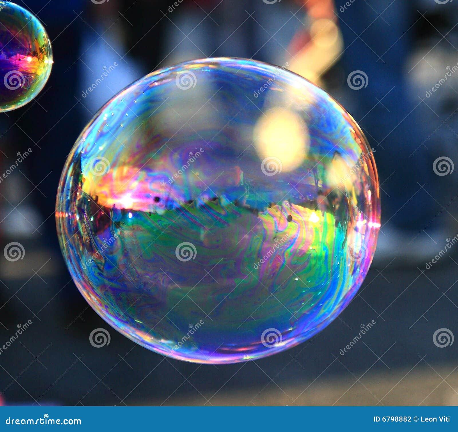 Soap Bubble On Light Ble Background Stock Photo