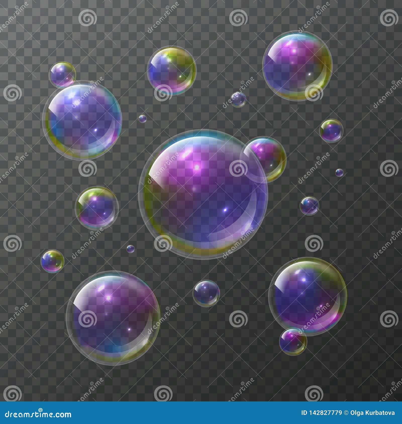 Soap bubbles. Abstract foam bubble shampoo clear soap rainbow wash bubbling shiny bubbly texture isolated vector set
