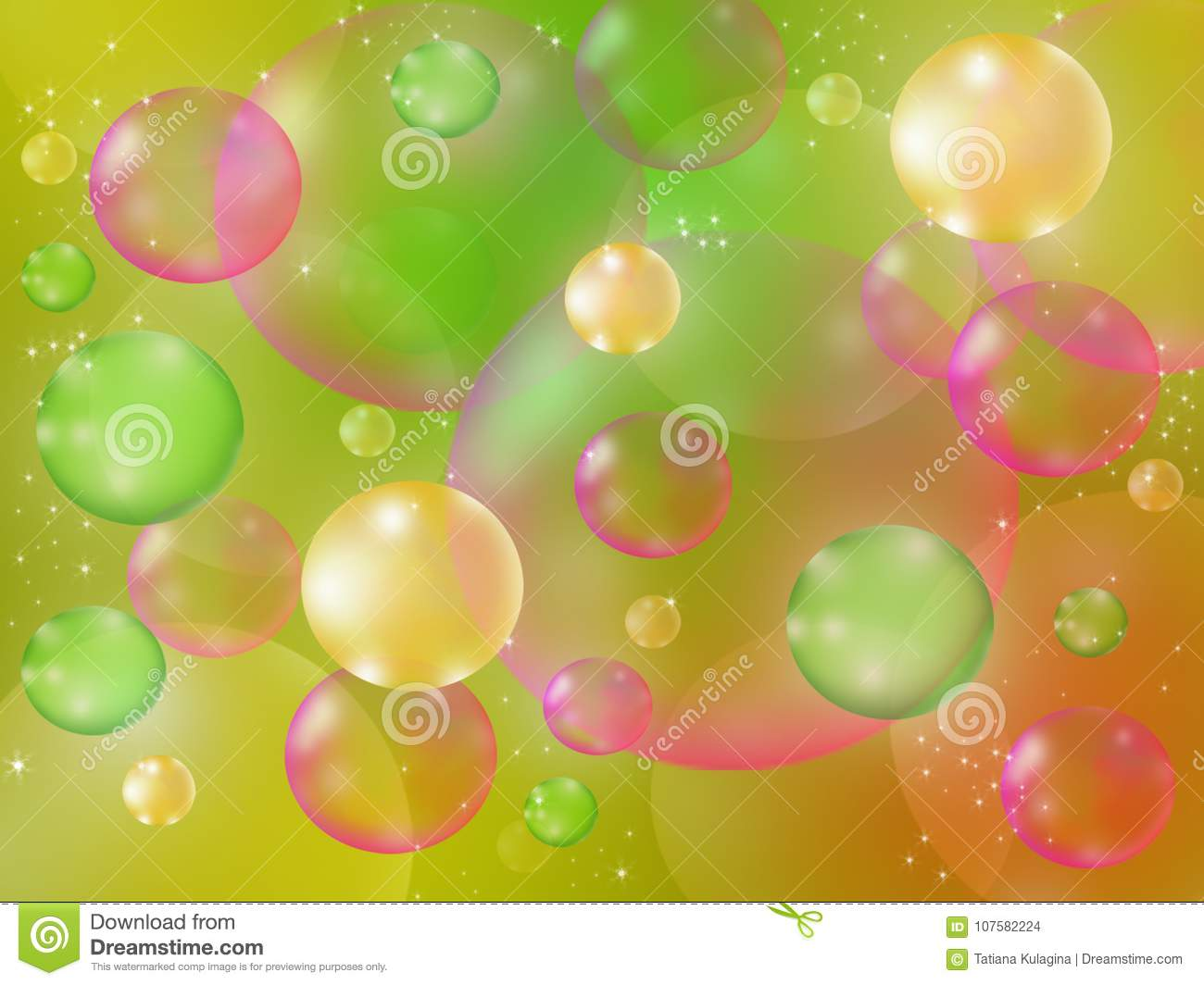 soap bubbles on a colored background stock illustration