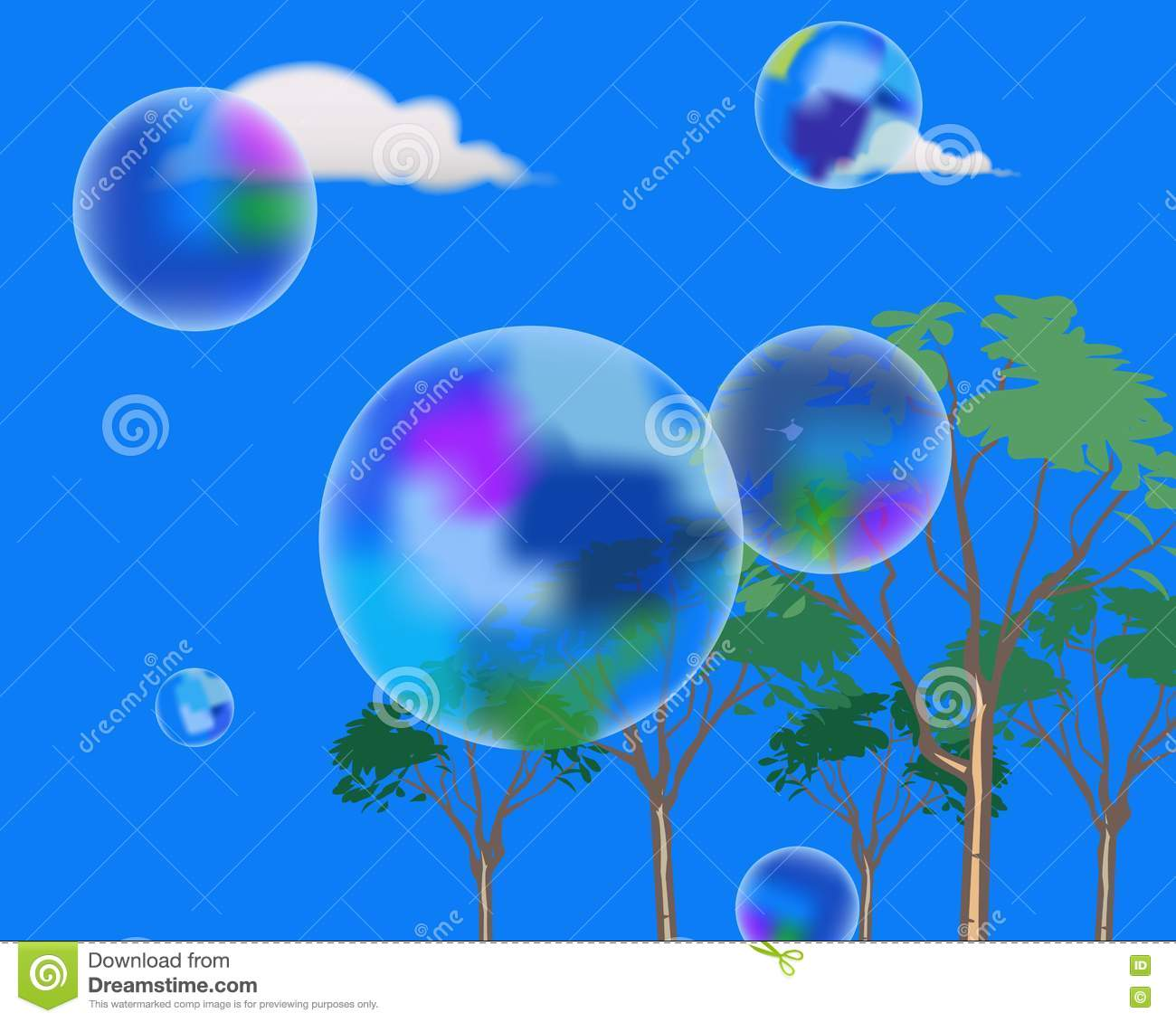 Soap bubbles in the sky stock illustration. Illustration ...