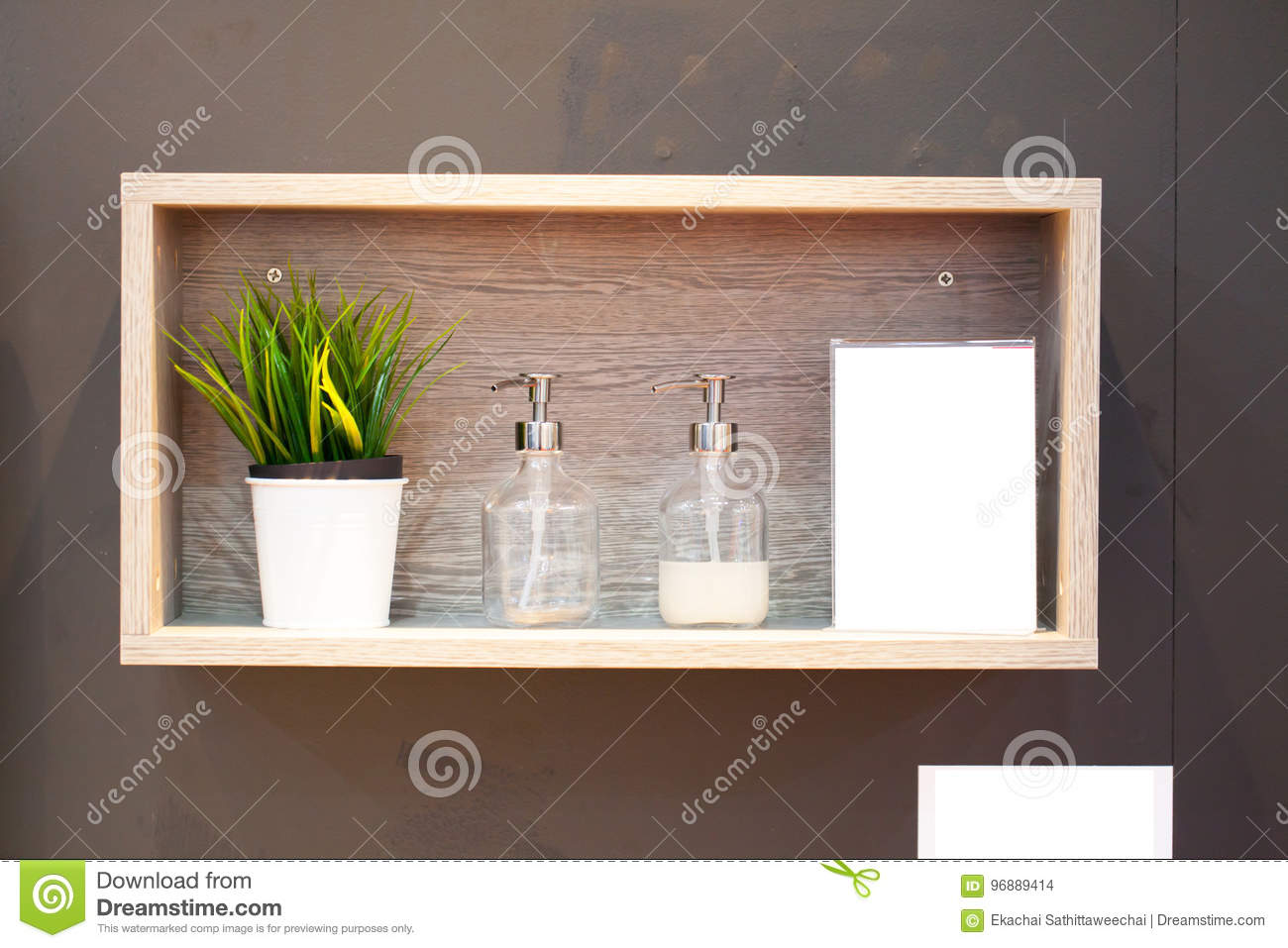 Soap Dispensers And Small Tree In A Wooden Shelf Stock Photo Image Of Ceramic Style 96889414