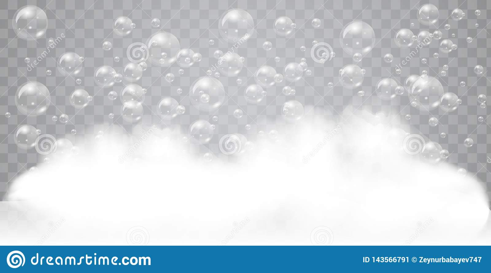 Soap foam with realistic bubbles background for your design. Bath laundry detergent or shampoo concept. Vector