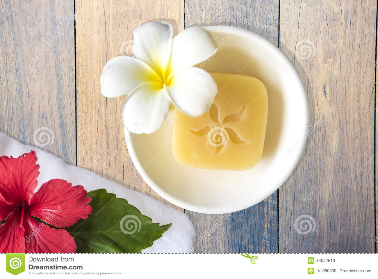 Soap Hibiscus And Fragipani Flower Stock Photo Image Of Towel