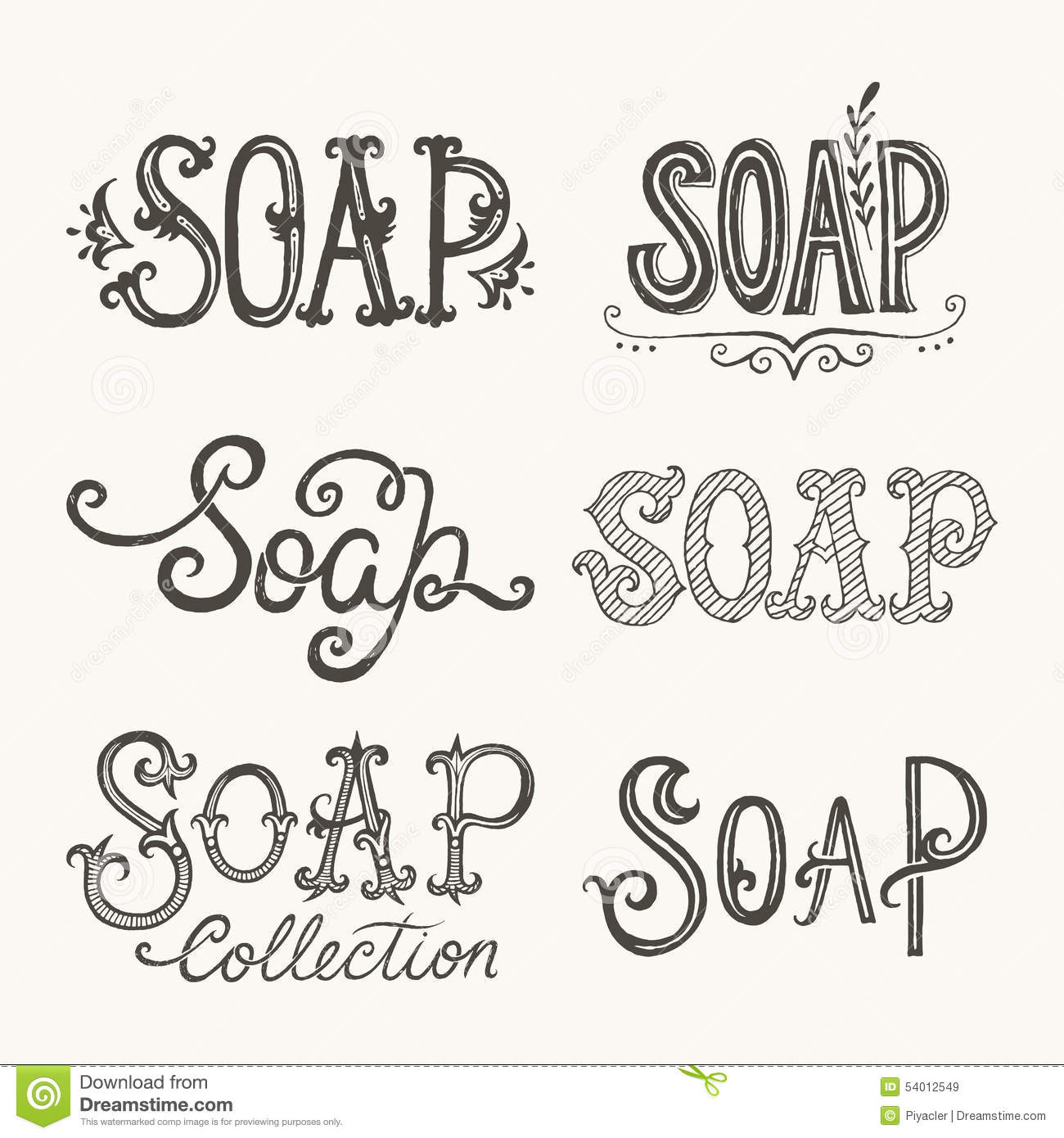 Soap Lettering Stock Vector. Illustration Of Typography