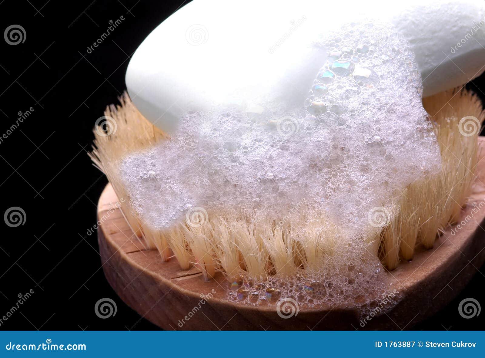 053666759b Soap on a scrub brush stock image. Image of bathe