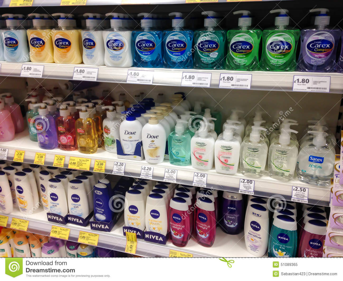 Soap And Shower Gel On The Shelves Editorial Image