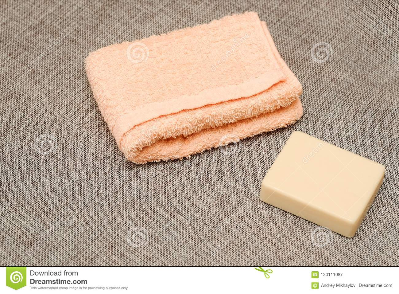 Soap and towel. Shower accessories. Hygiene items.