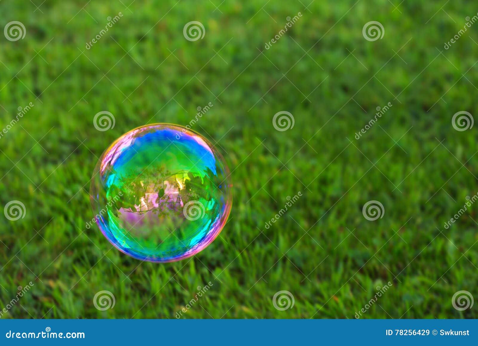 Soapbubble στο πράσινο φυσικό υπόβαθρο
