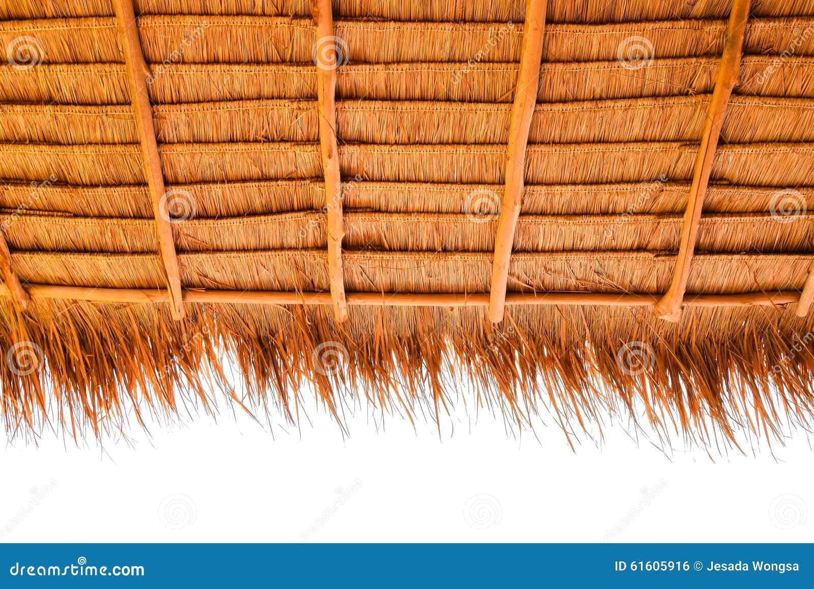 Sob a vista do telhado cobrido com sapê