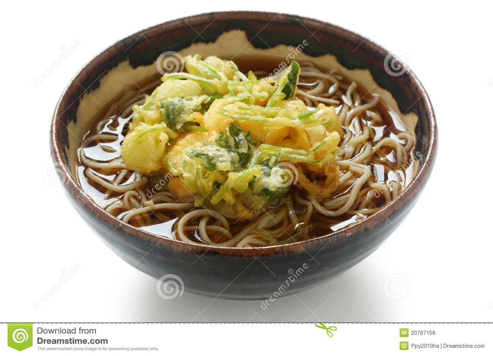 Soba лапши kakiage тарелки японское
