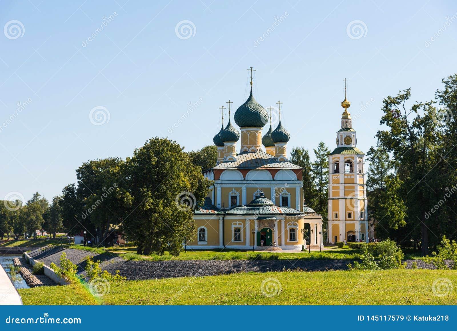 Sobor van Preobrazhensky van de Transfiguratiekathedraal van het Kremlin in Uglich, Rusland