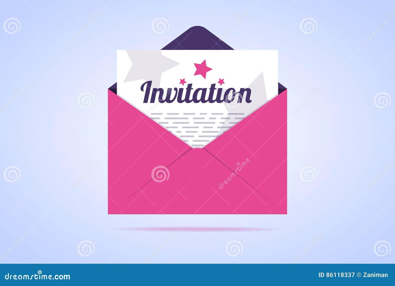Sobre Con La Letra De Invitación Ilustración Del Vector