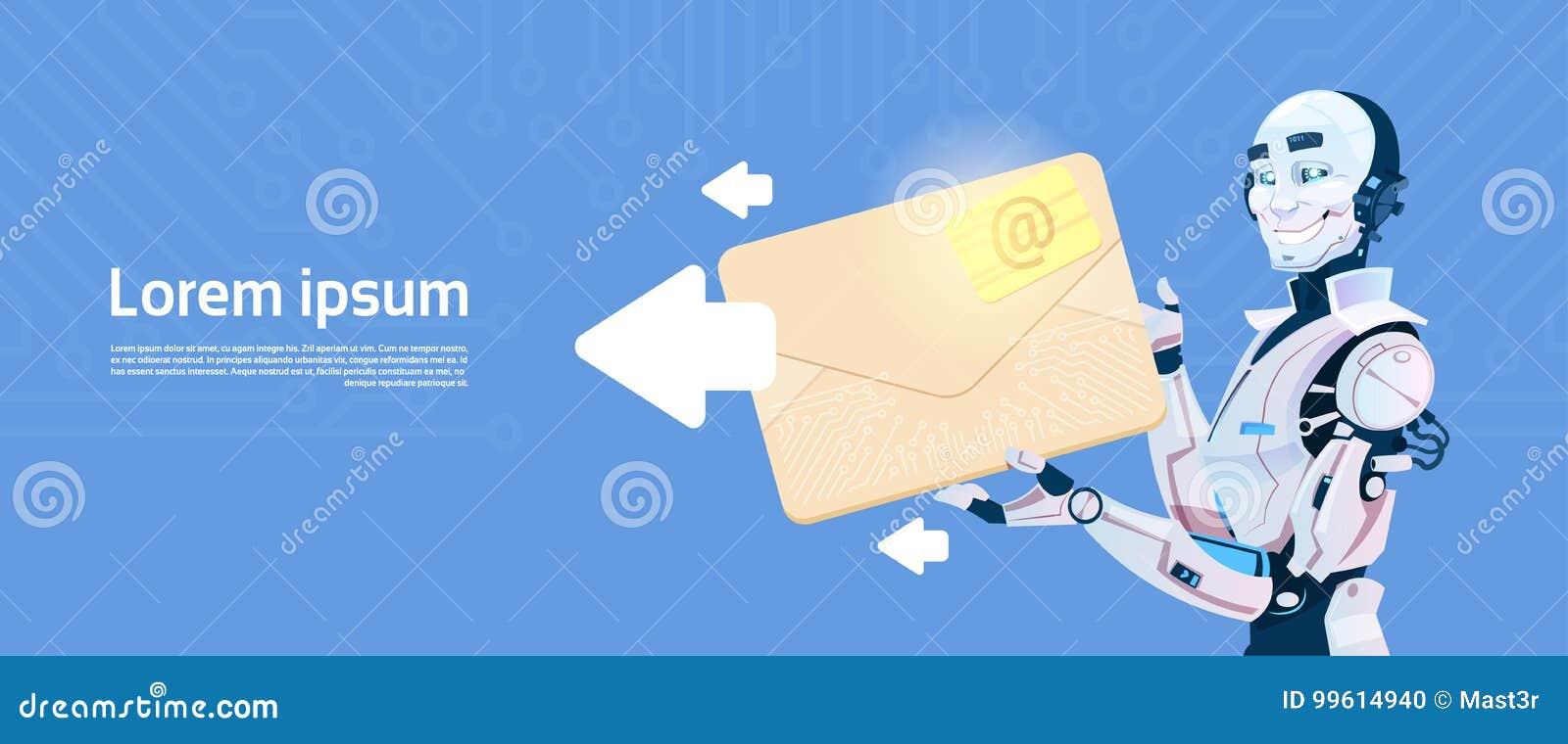 Sobre moderno del control del robot que envía el correo electrónico, tecnología futurista del mecanismo de la inteligencia artifi
