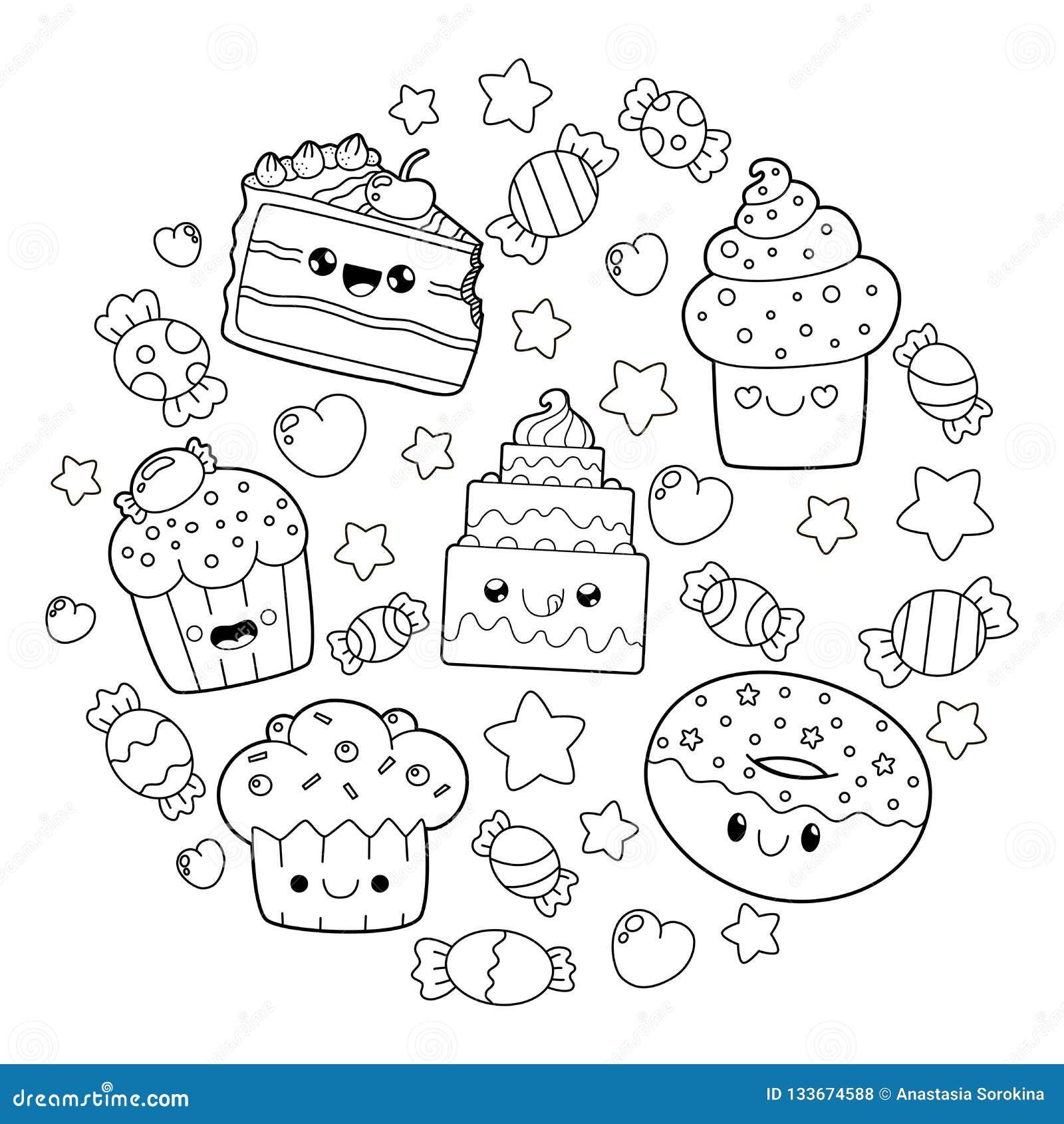 Sobremesa Bonito De Kawaii Ilustração Stock Ilustração De