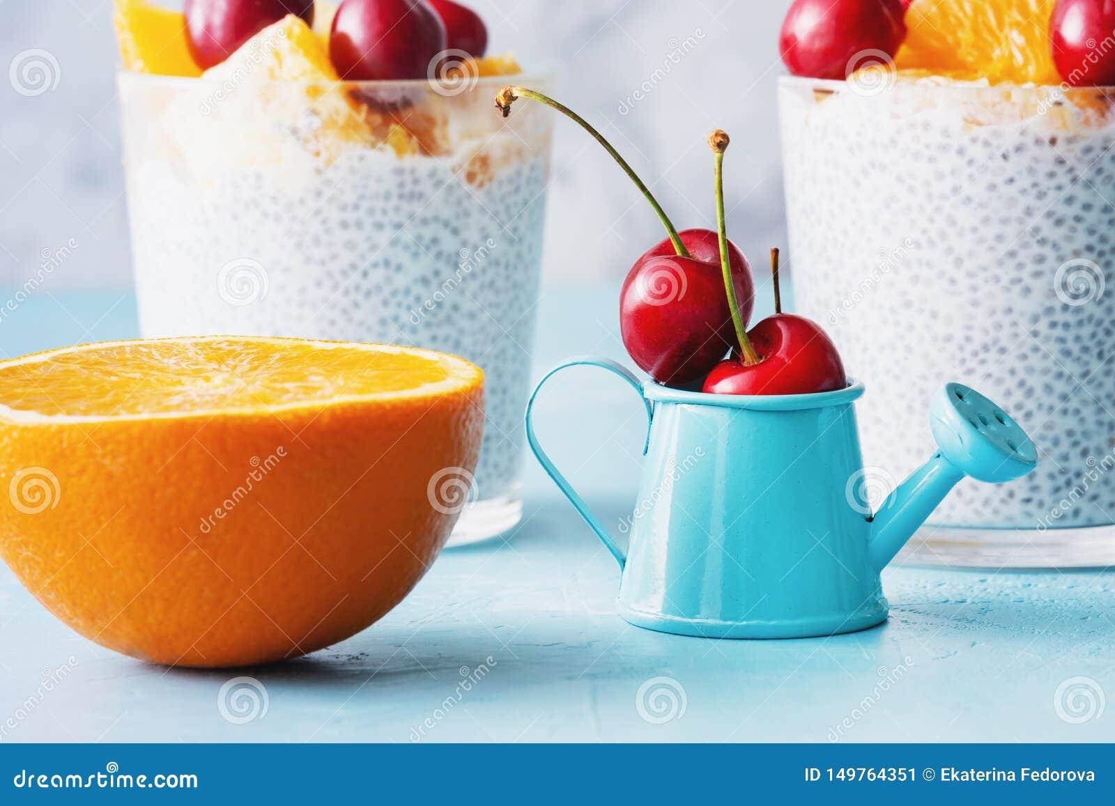 Sobremesa grega do vegetariano do iogurte com Chia Seeds Closeup