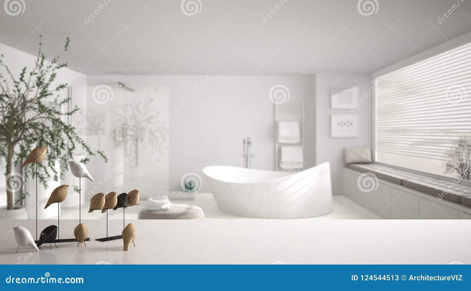 Sobremesa o estante blanca con el ornamento minimalistic del pájaro, knick del chirrido - destreza sobre cuarto de baño contempor
