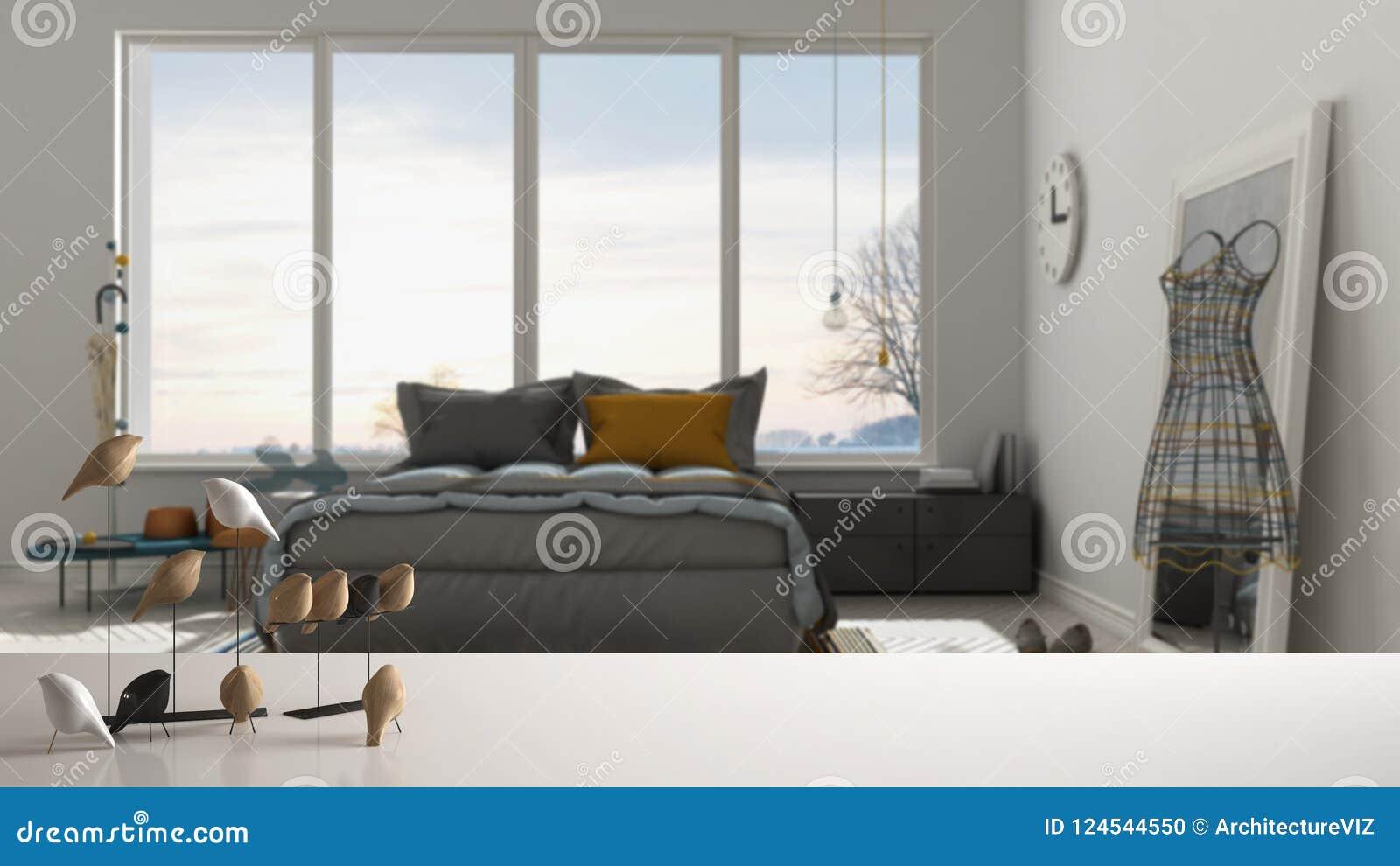 Sobremesa o estante blanca con el ornamento minimalistic del pájaro, knick del chirrido - destreza sobre dormitorio contemporáneo