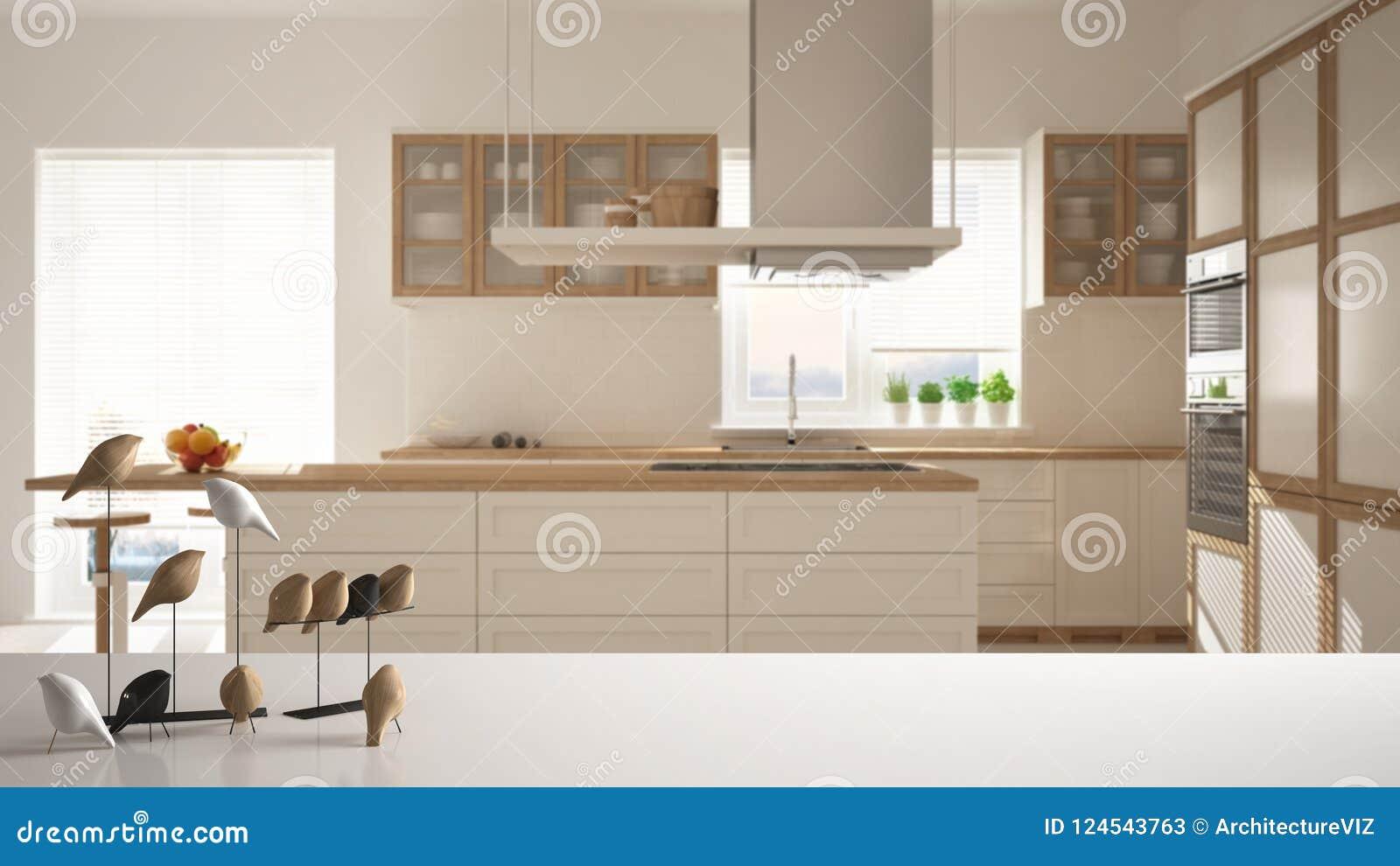 Sobremesa o estante blanca con el ornamento minimalistic del pájaro, knick del chirrido - destreza sobre la cocina de madera cont