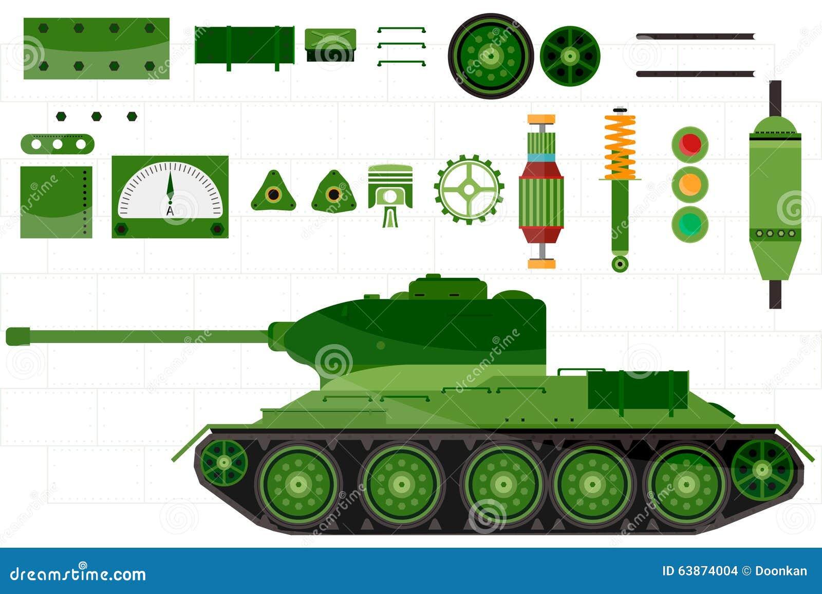 Sobressalente do tanque e tanque das peças Vetor