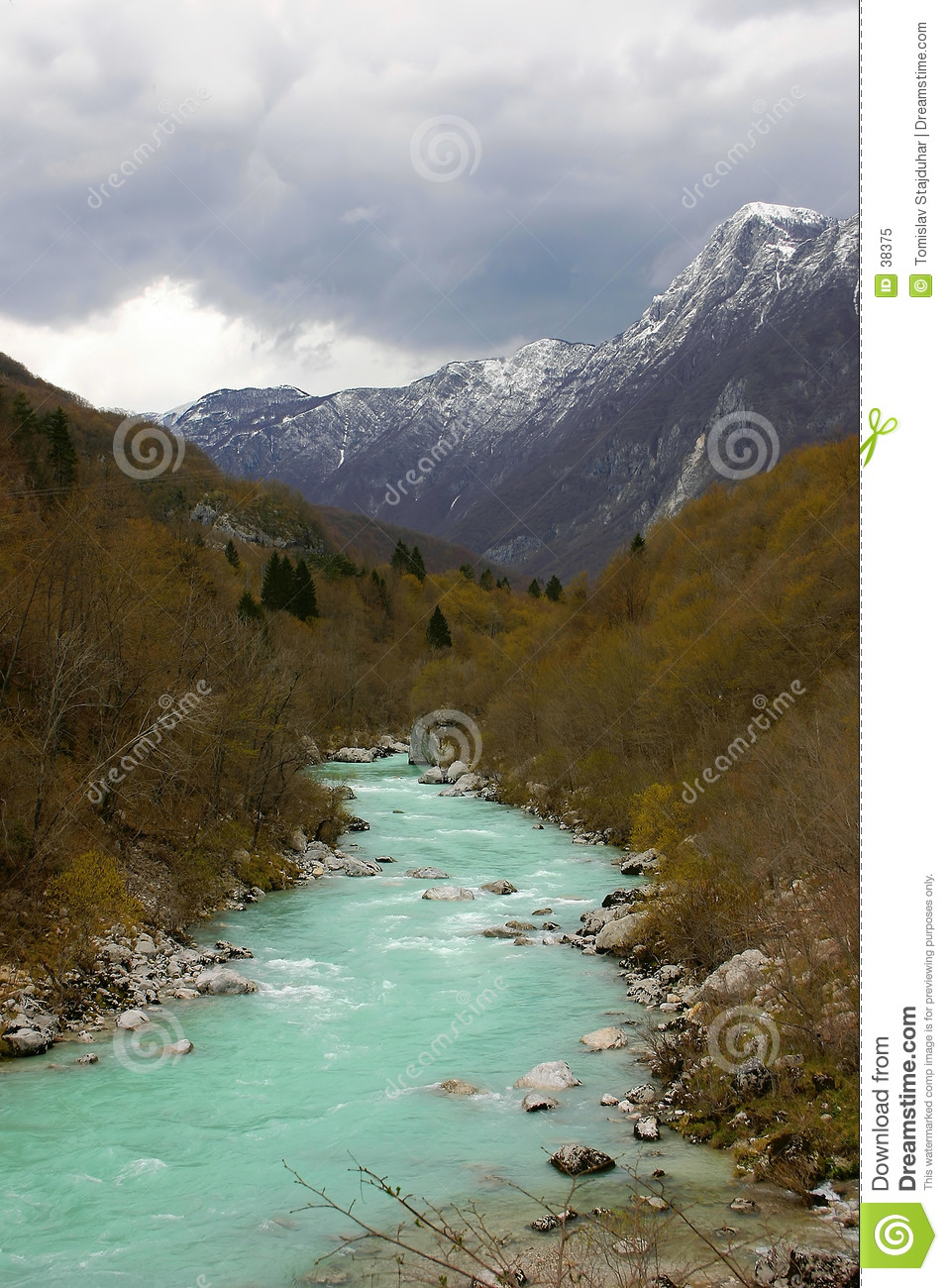 Soca alpine river in Slovenia