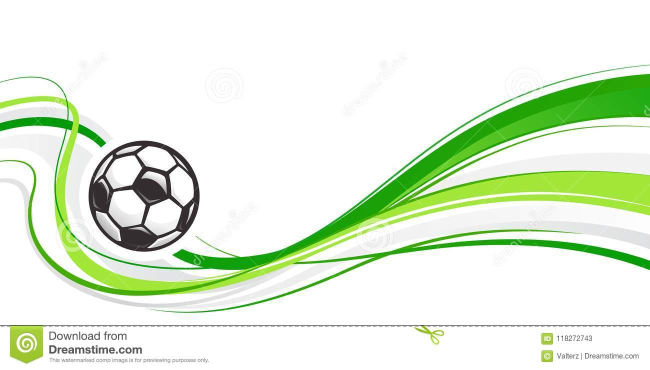 Soccer abstract background with ball and green waves. Abstract wave football element for design. Football ball.