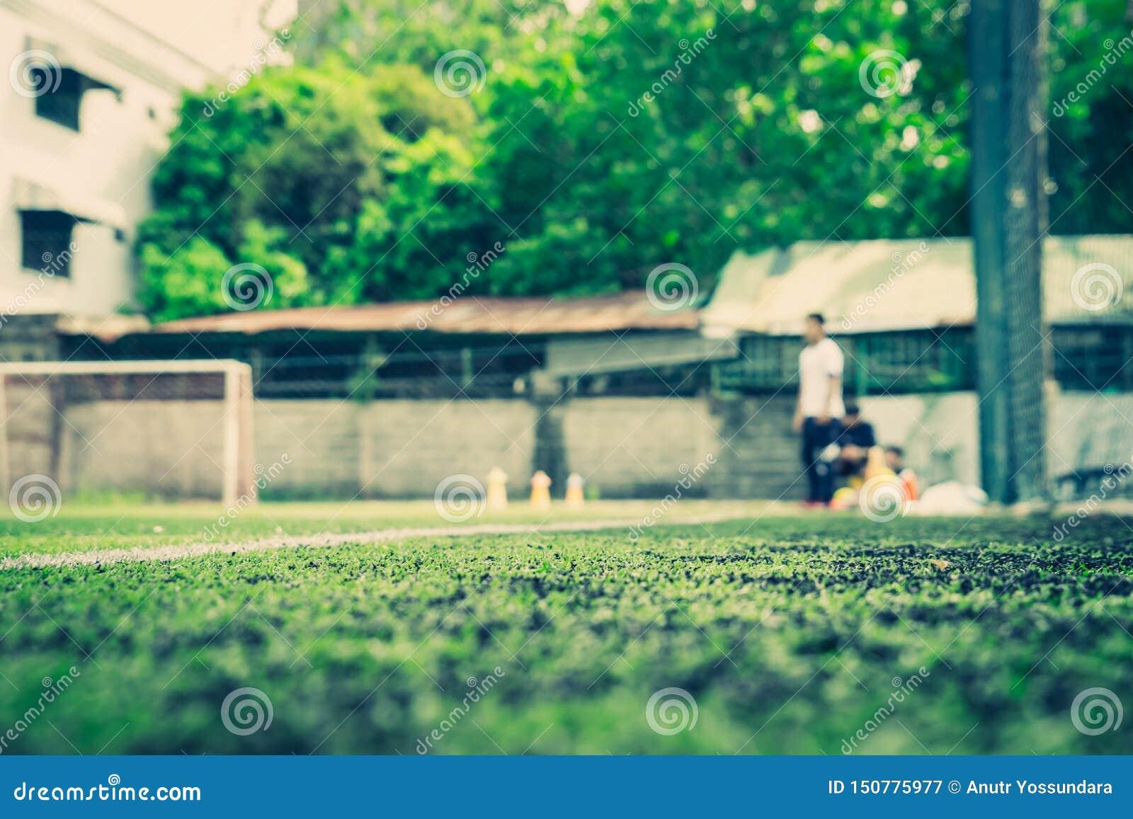 Soccer field for children training blurred for background