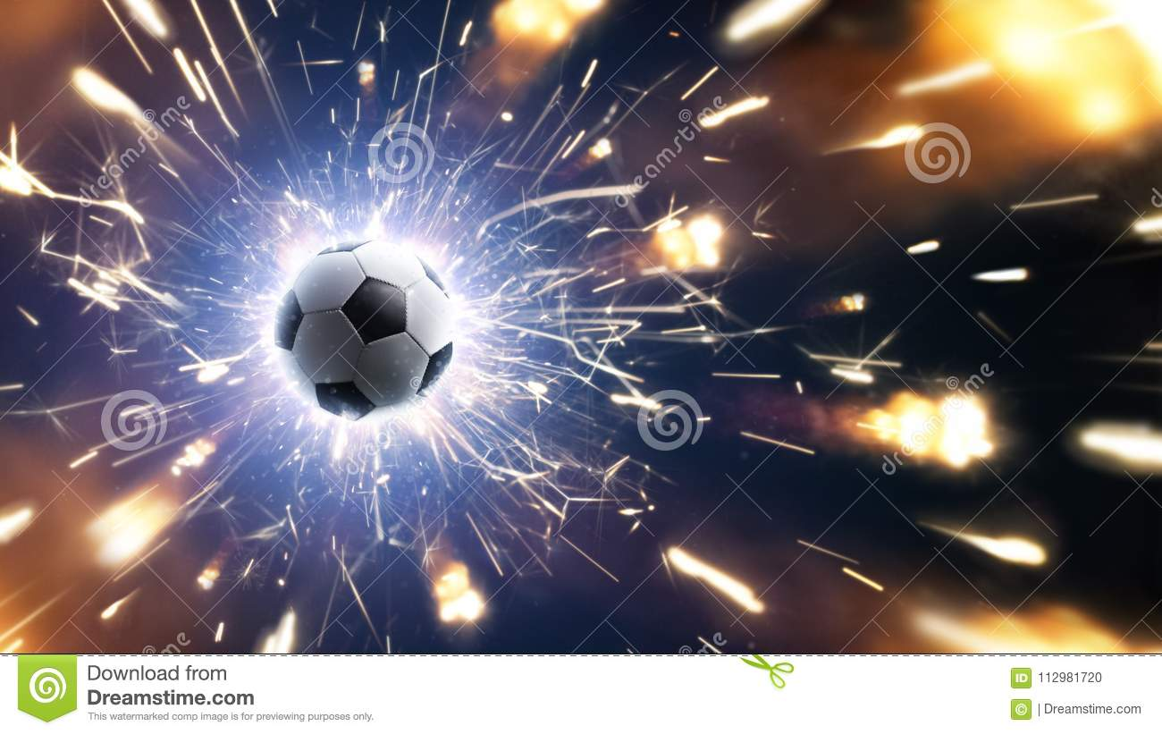 Soccer. Soccer ball. Soccer background with fire sparks in action