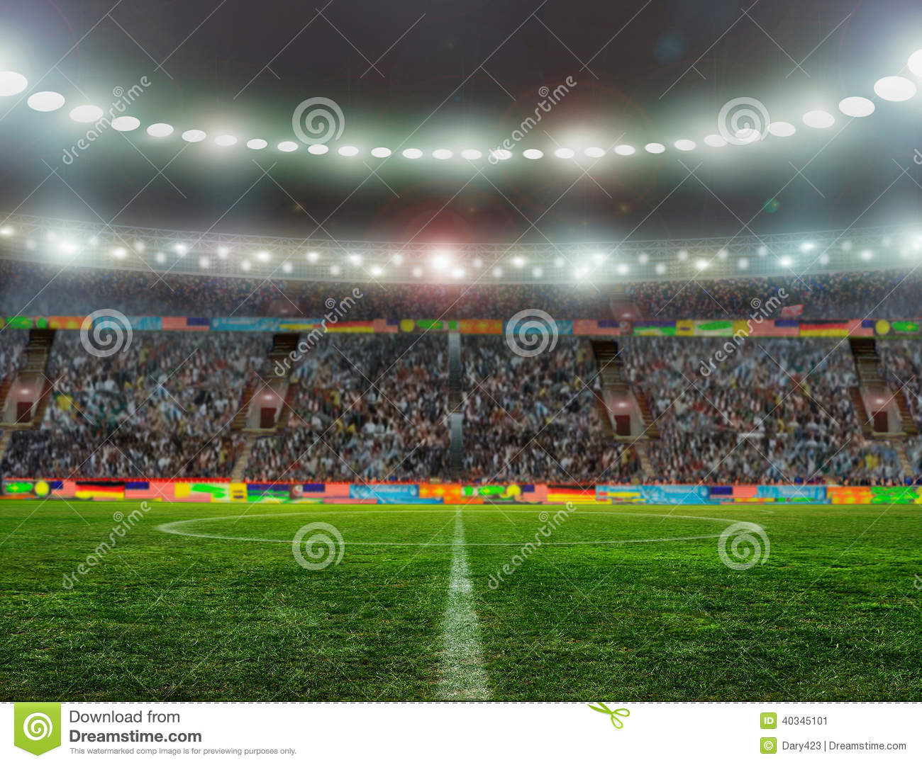 On The Stadium Abstract Football Or Soccer Backgrounds: Soccer Bal.football, Stock Photo