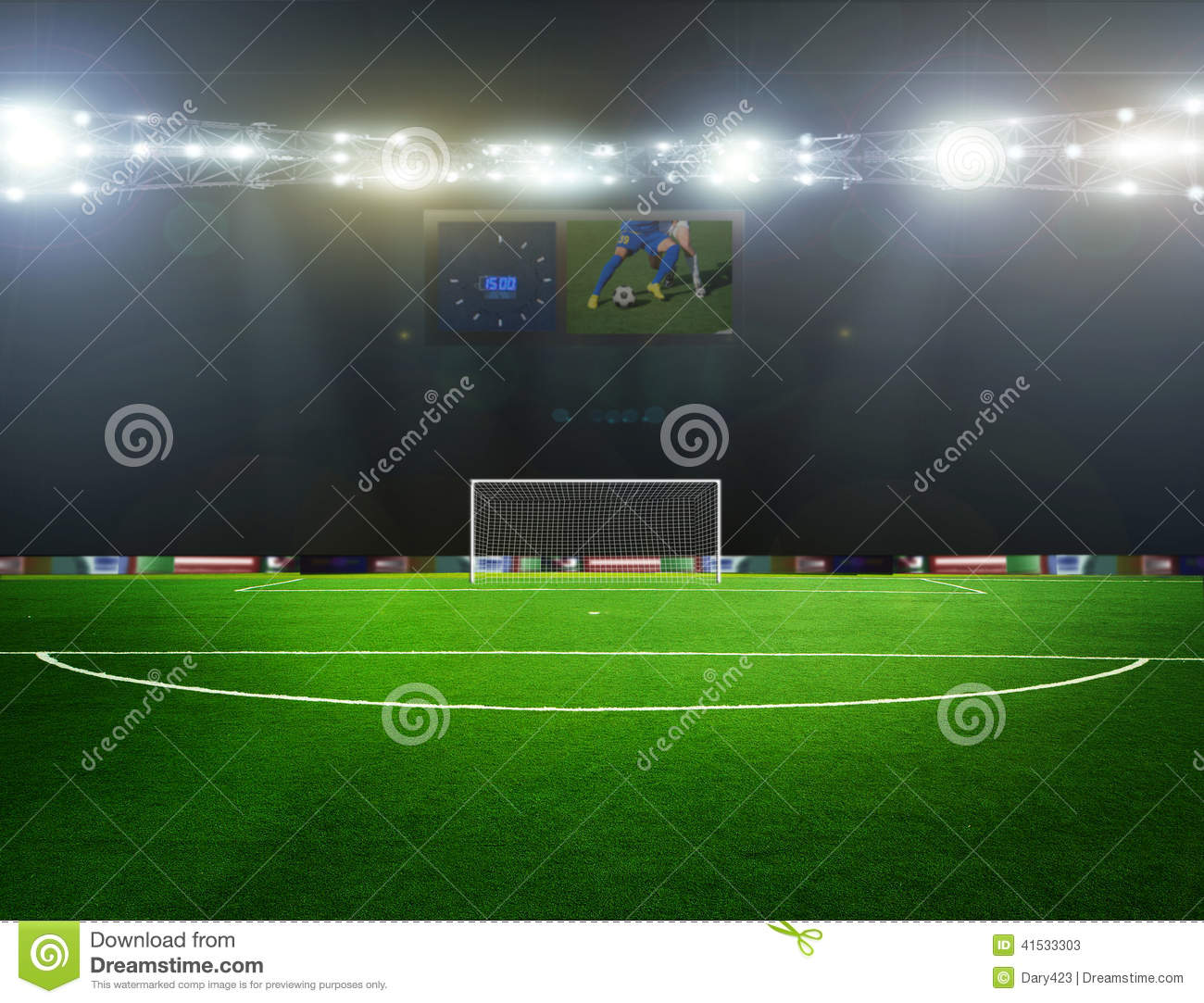 On The Stadium Abstract Football Or Soccer Backgrounds: Soccer Bal.football, Stock Image. Image Of Meadow, Flash