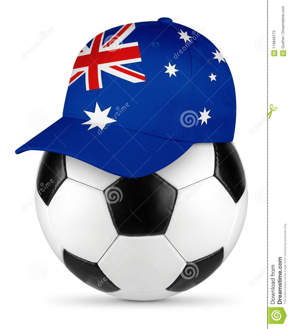6dc881e0a63 Classic black white leather soccer ball with australia australian flag  baseball fan cap isolated background sport football concept
