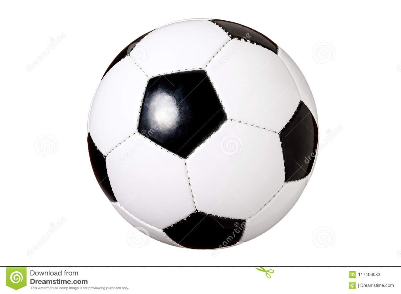 Soccer Ball Isolated, Cut Out, Black And White Classic Ball