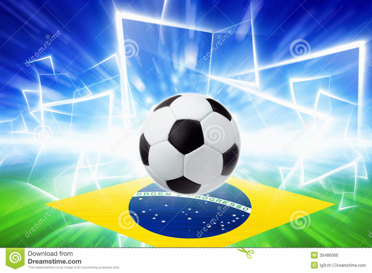 Abstract Sports Background Royalty Free Stock Image: Soccer Ball, Brazil Flag Royalty Free Stock Image