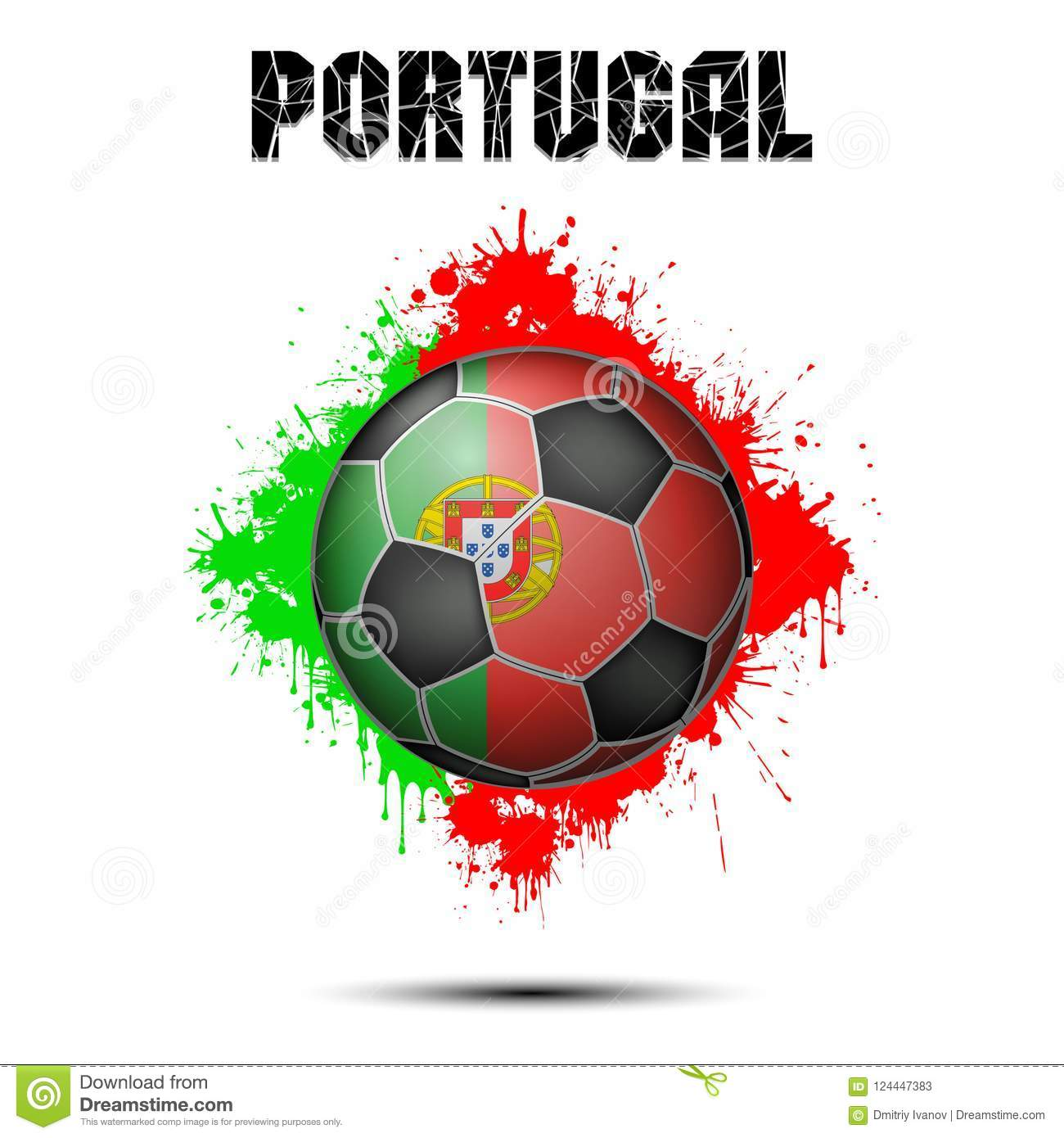 Soccer Ball In The Color Of Portugal Stock Vector - Illustration of modern, europe: 124447383